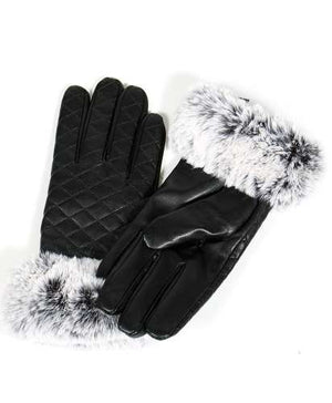 Quilted faux leather touch screen gloves at {price}