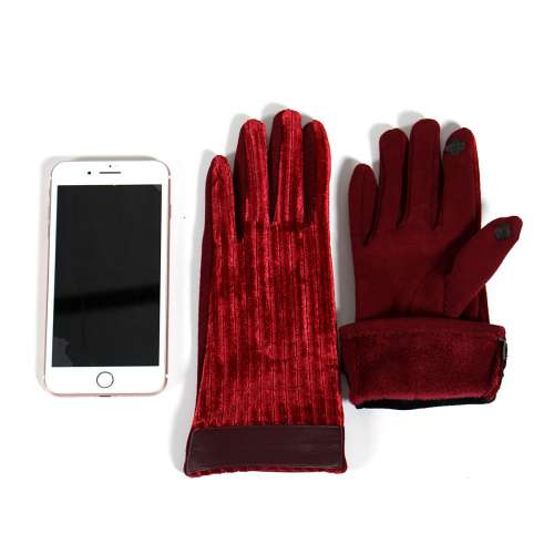 Gloves - Faux leather cuff textured touch screen gloves