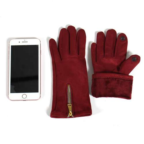 Gloves - Zipper accent touch screen gloves