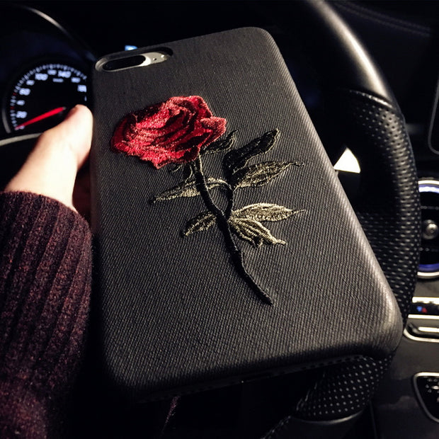 Embroidered Rose Case
