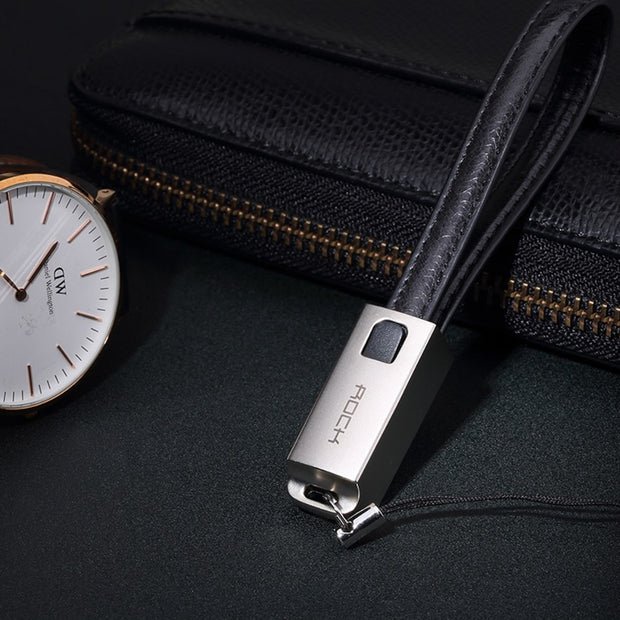 Leather Lighting Cable Keychain