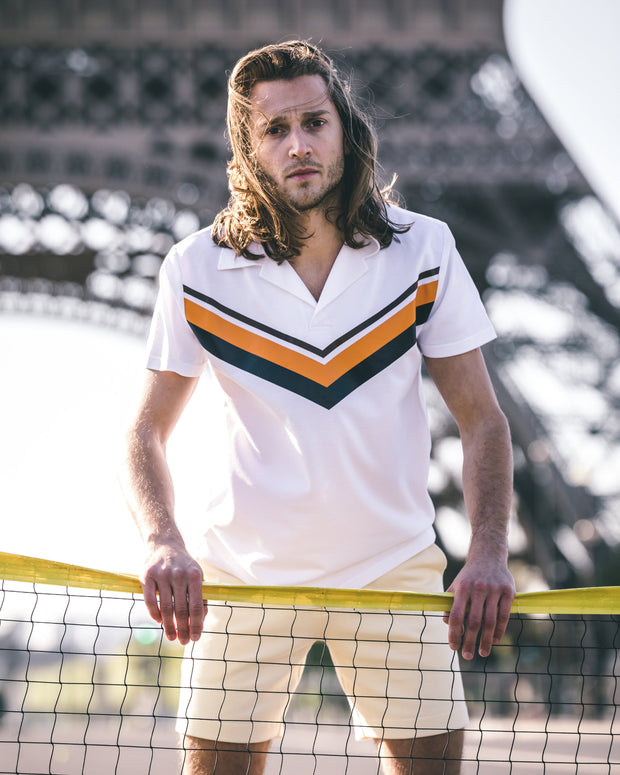 Chevron polo shirt in piqué cotton