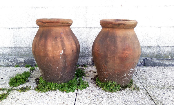 #5525-PUGG - Pair of Italian Clay Garden Pots