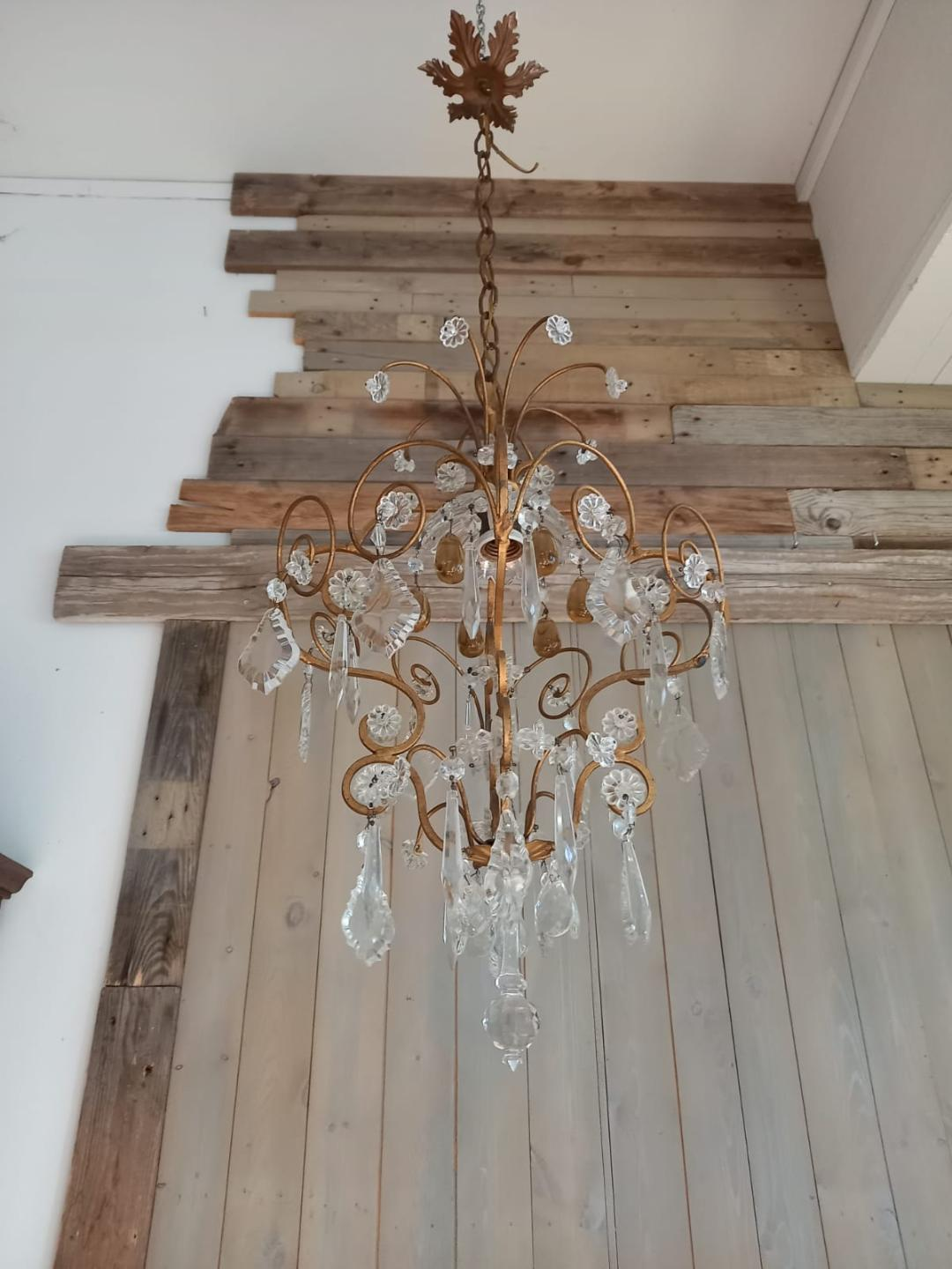 #6968-IIG - Iron & Crystal Chandelier