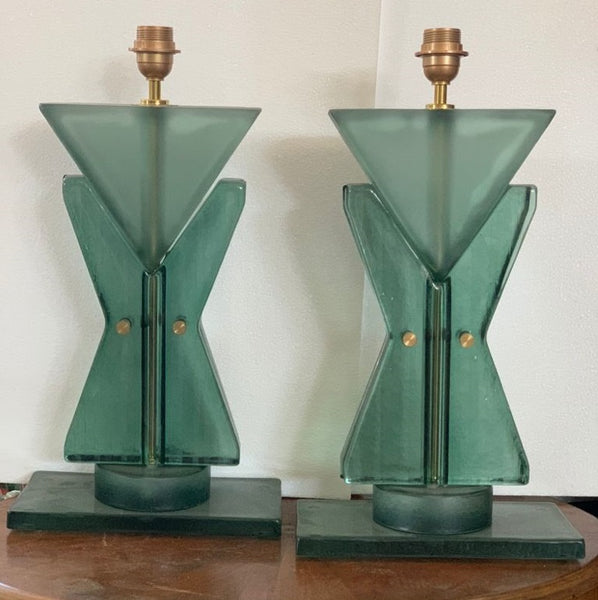 #7049-RUGG - Pair of Murano Lamps (Choice of Color)