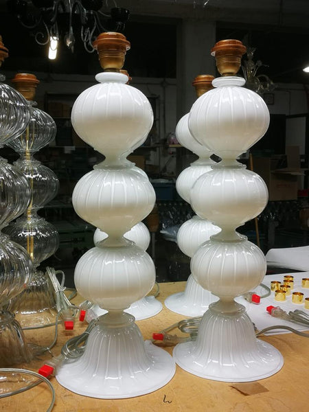 #7076-PUNH - Pair of Murano Lamps (Choice of Many Colors)