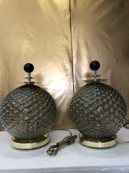 #7096-UUGG - Pair of Murano Lamps w/ Light Inside