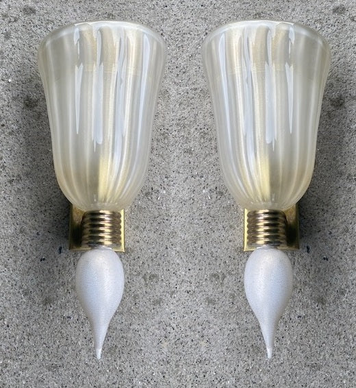 #6623-PUGG - Pair of Murano Sconces