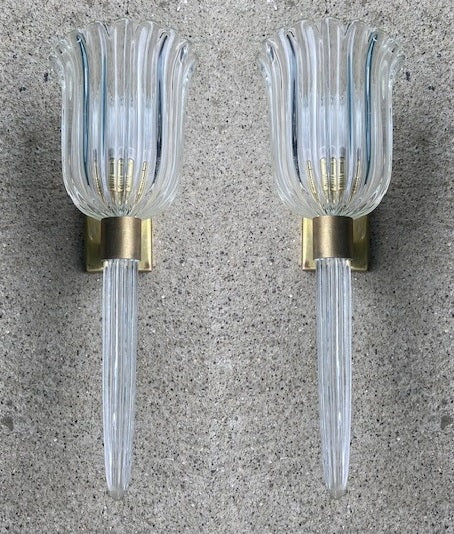 #6624-PUGG - Pair of Murano Sconces