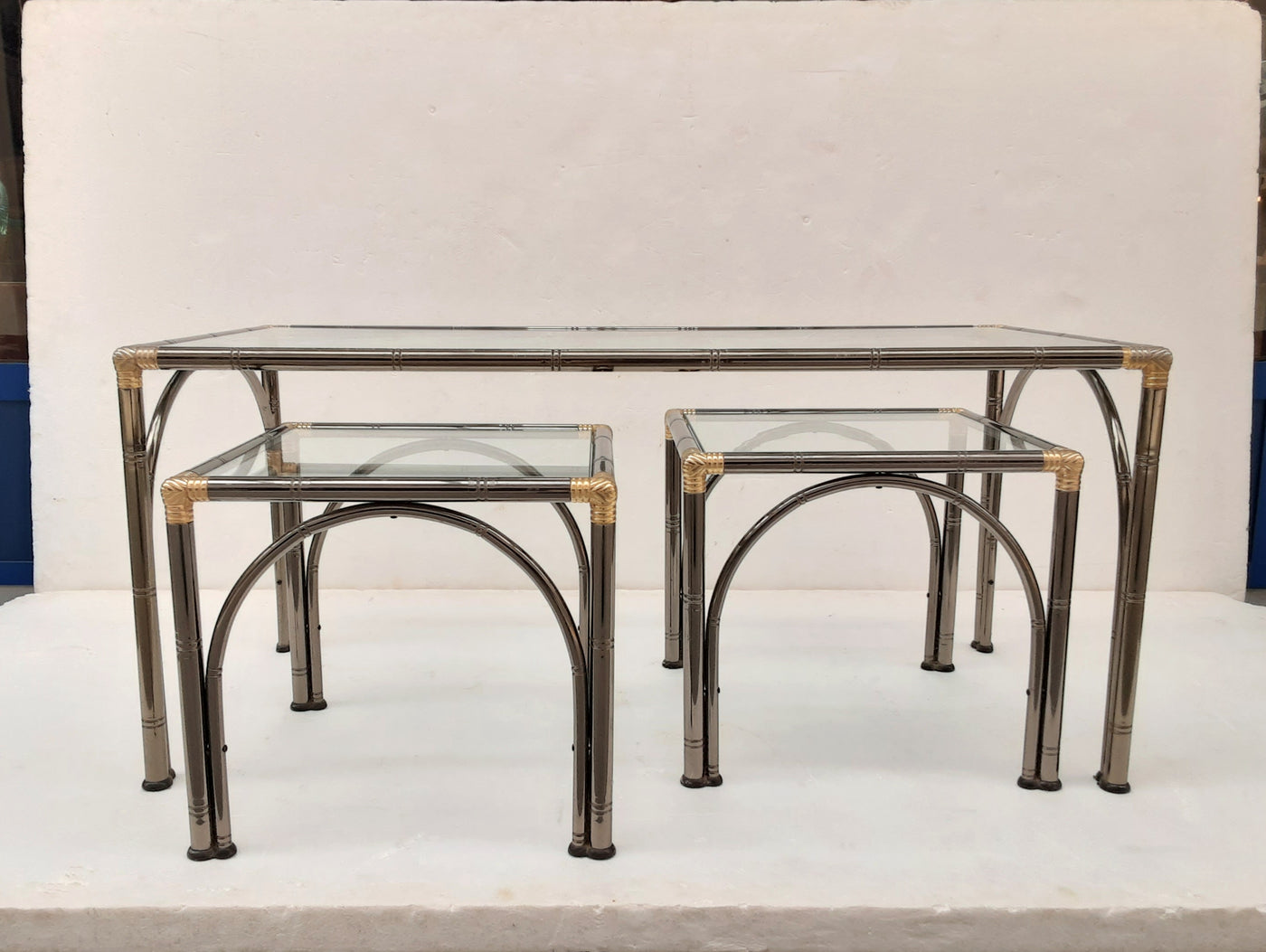 #6493-PPUG - Triptych of Silver & Gold Metal Tables