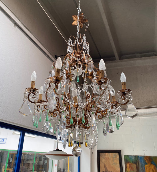 #6650-PIGG - Gilded Iron & Crystal Chandelier