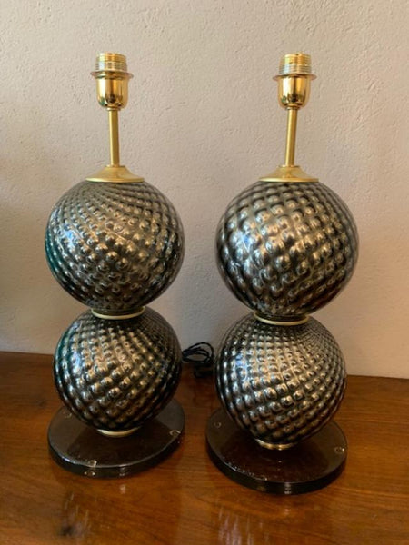 #5104-UAGG - Pair of Murano Lamps