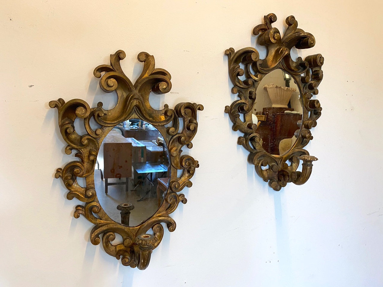 #6705-PIGG - Pair of Gilded Wood Wall Sconces, ca. 1920