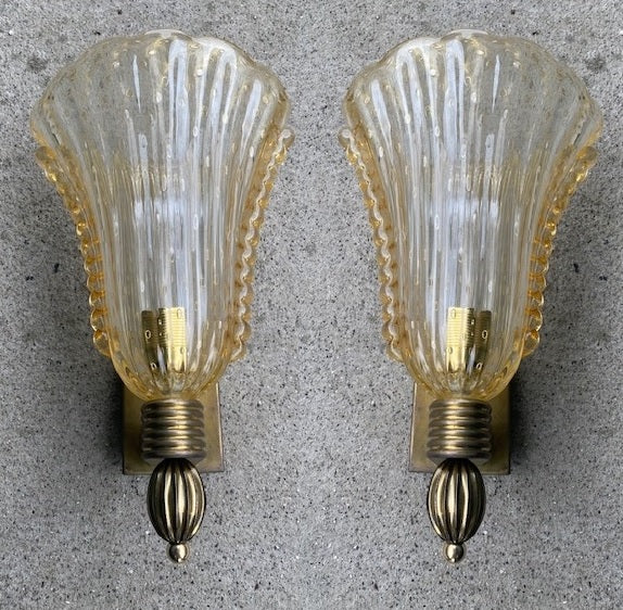 #6625-PUGG - Pair of Murano Sconces