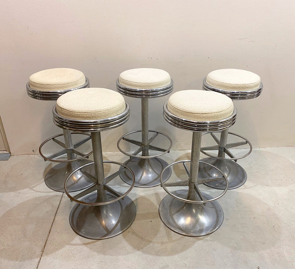 #6945-RUGG - Set of 5 Swivel Stools, Ca. 1970