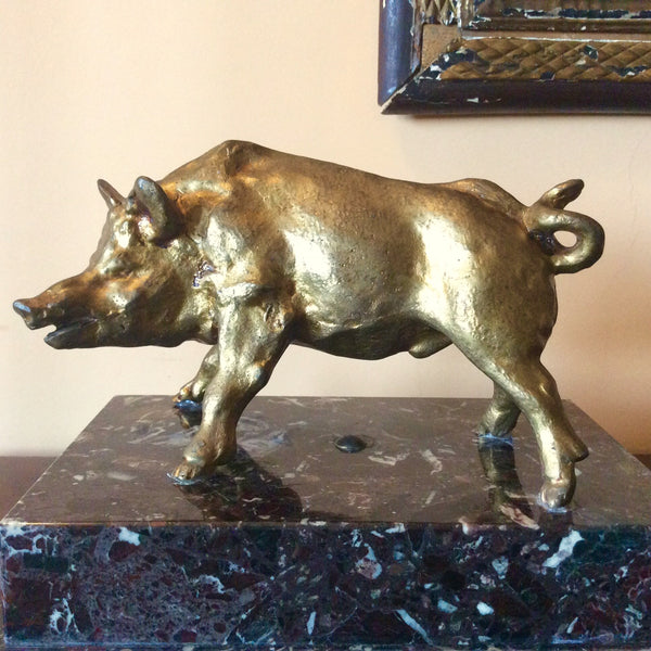 #6920-PCGG - Bronze Boar on Marble Base