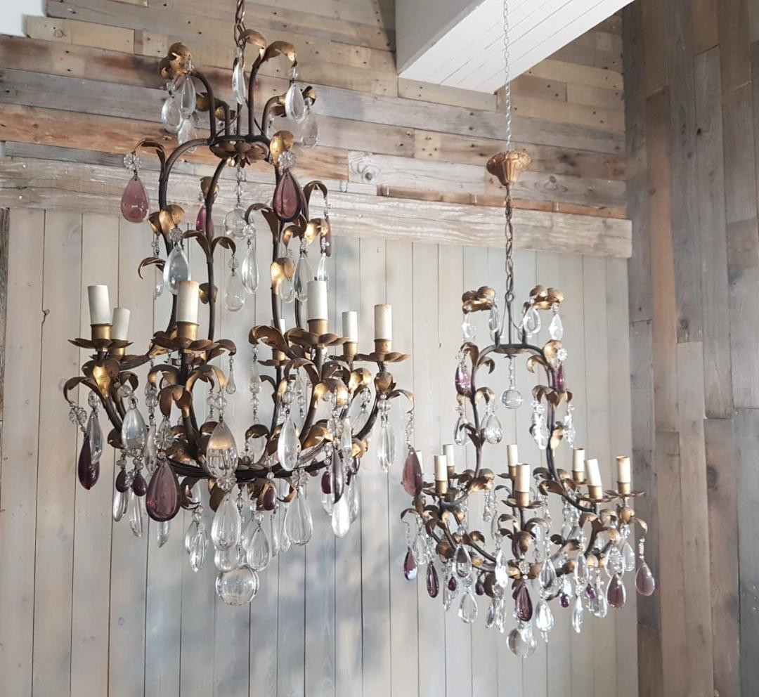 #5289-CGGG - Pair of Iron & Crystal Chandeliers