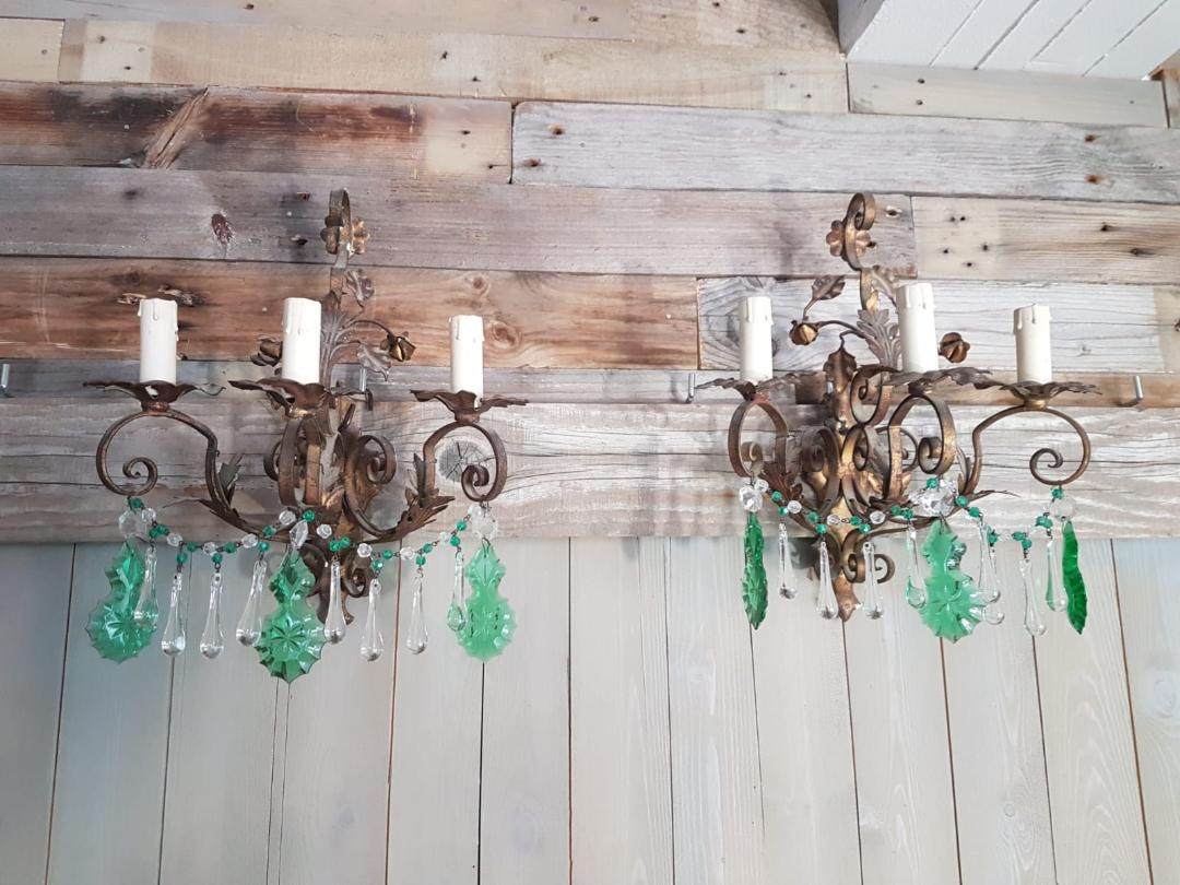 #5564-PGGG - Pair of Iron & Crystal Sconces