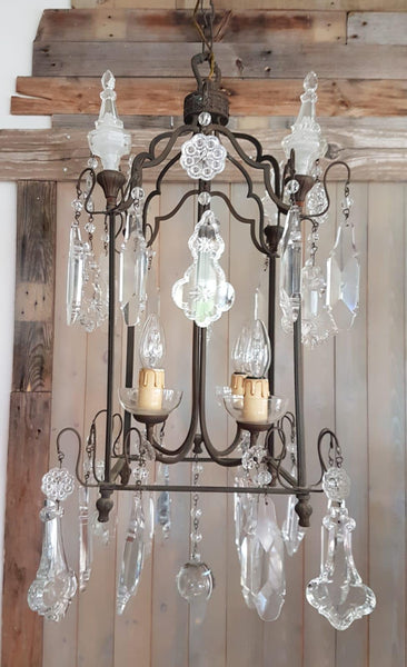 #5571-PAGG - Iron & Crystal Chandelier