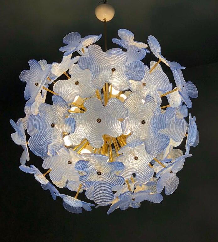 #5870 - Murano Chandelier (Available in 2 Sizes, White or Blue)