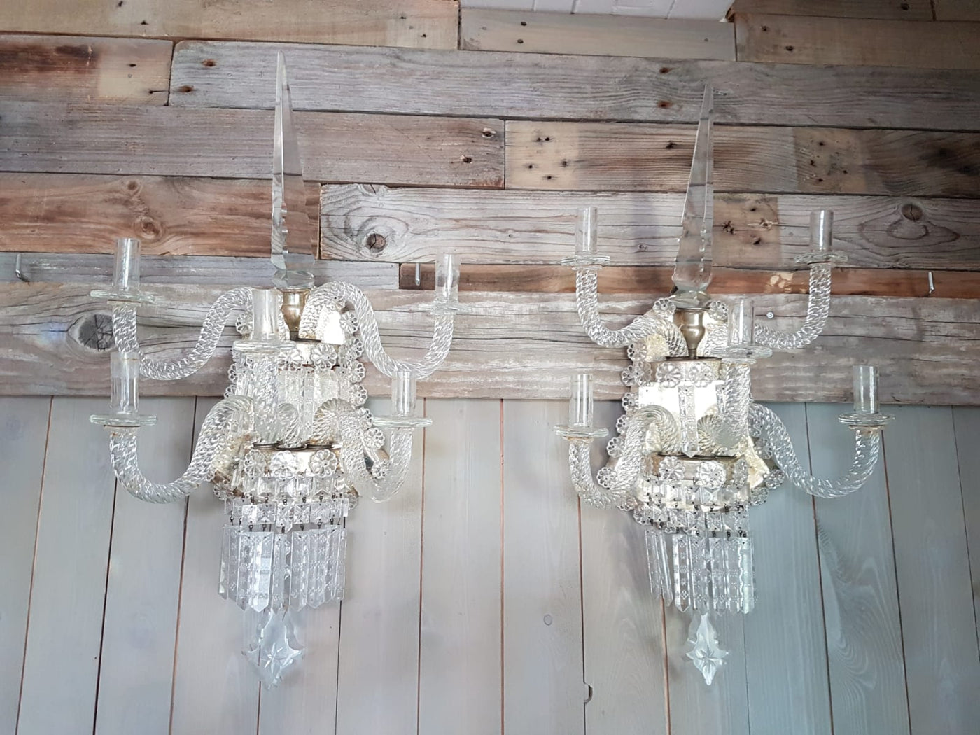 #6242-AGGG - Pair of Crystal Sconces