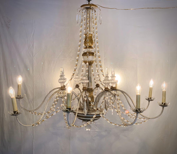 #6339-PGGGG - Tuscan Gilded Wood & Crystal Chandelier