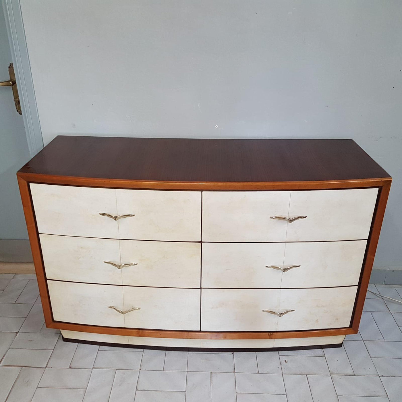 #6349-CAGG - Art Deco Wood & Pergamena Chest of Drawers