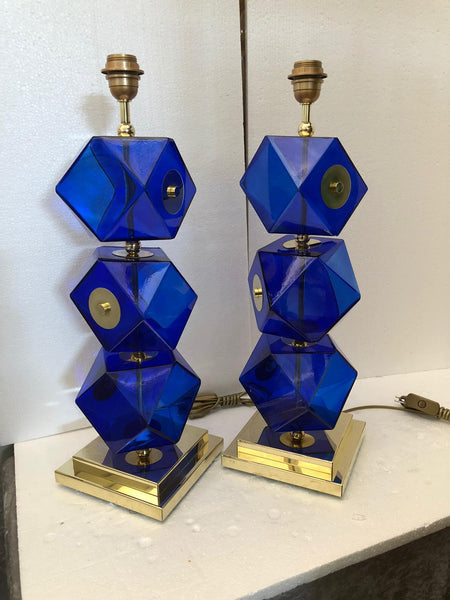 #6468-UIGG - Pair of Murano Lamps
