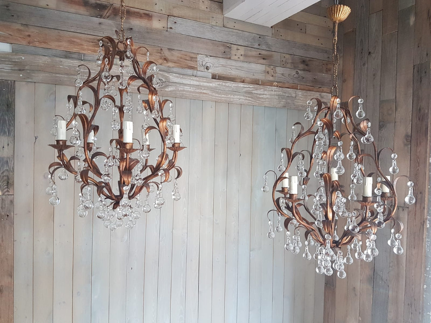 #6772-UIGG - Pair of Iron & Crystal Chandeliers