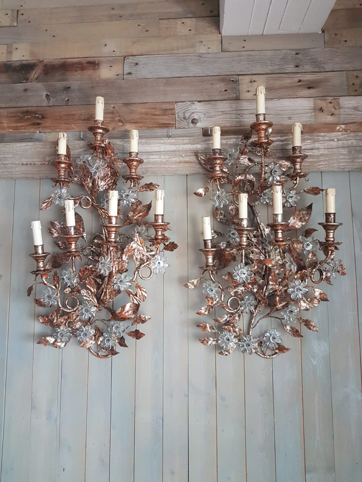 #6710-RAGG - Pair of Iron & Crystal Sconces