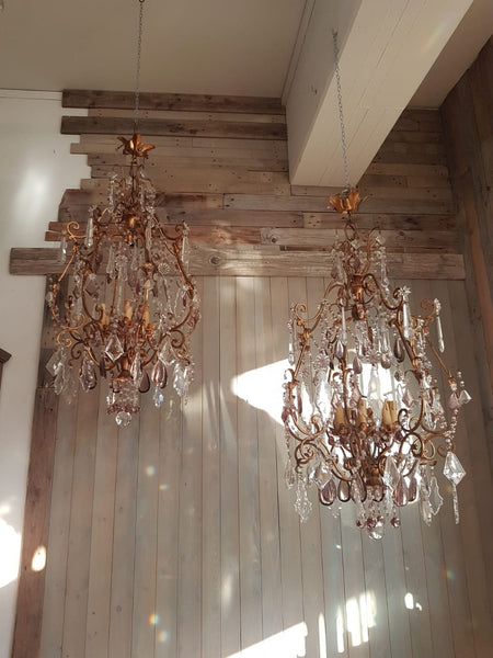 #6781-HAGG - Pair of Iron & Crystal Chandeliers