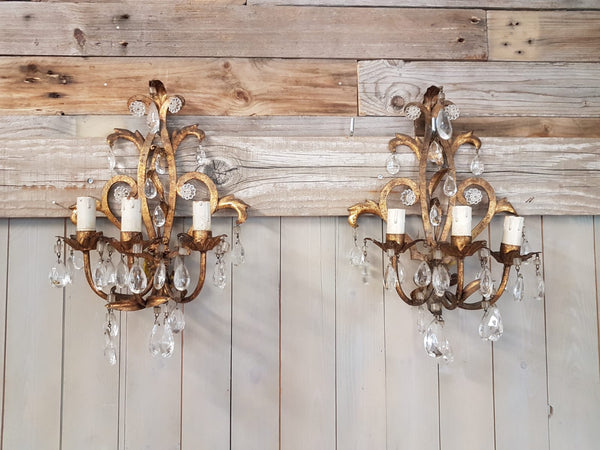 #6934-PAGG - Pair of Iron & Crystal Sconces