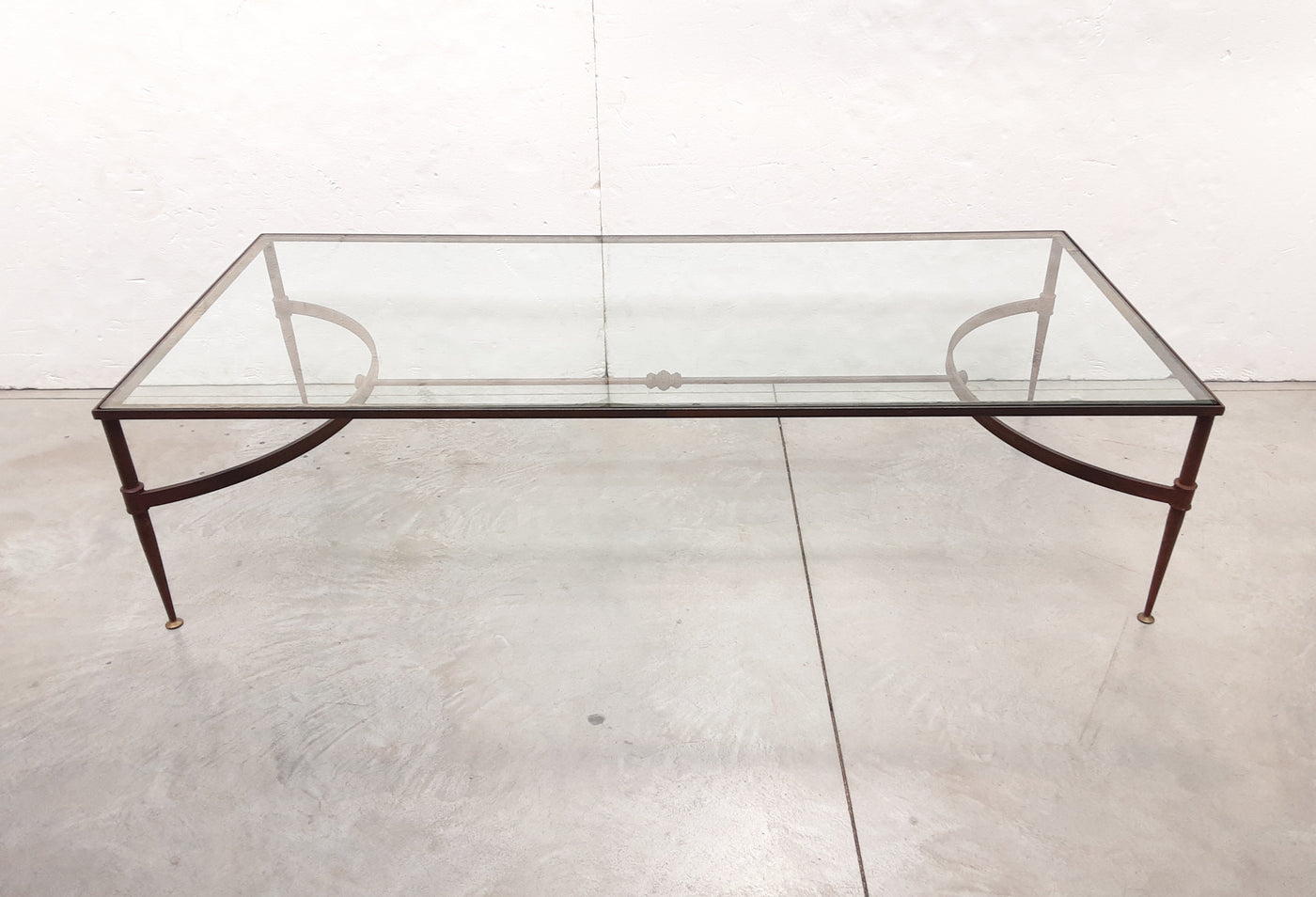 #6602-CGGG - Iron & Glass Top Coffee Table, Ca. 1960