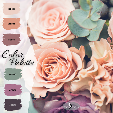 Color palette from peach and rose colored roses.
