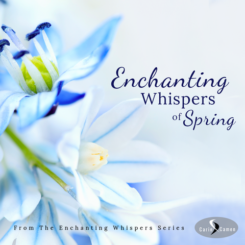 Enchanting Whispers of Spring Announcement - Beautiful blue and white flowers with a touch of yellow center.