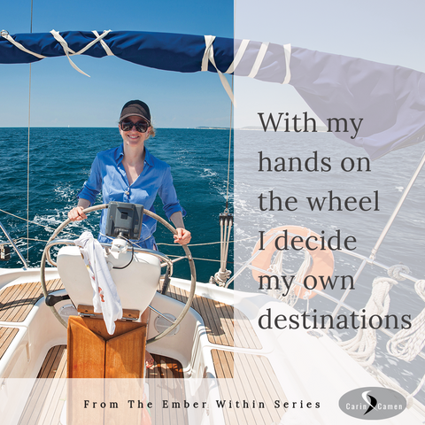 Woman holding on to boat wheel.