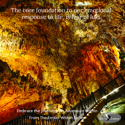 Inside a cave with brilliant colors of rust, orange, and yellow.