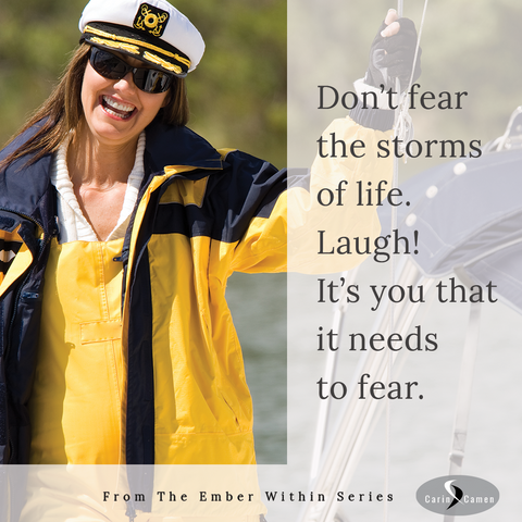 Woman in captain's hat smiling on deck of boat.