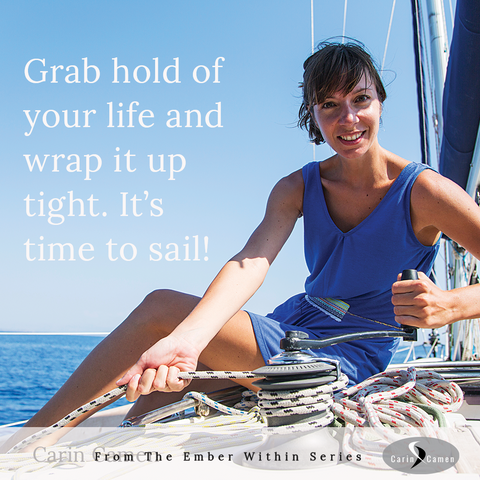 Woman sitting on boat and wrapping up rope.