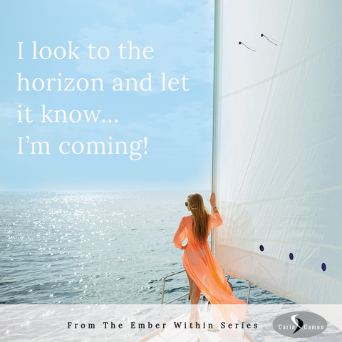 Woman holding onto sail and looking out to the horizon with calm water.