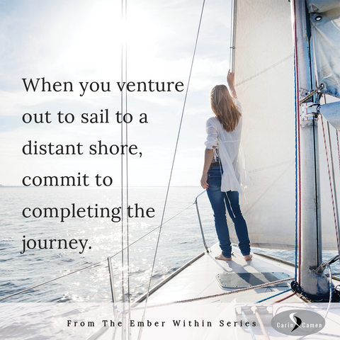 Woman holding onto a sail and looking at the horizon.
