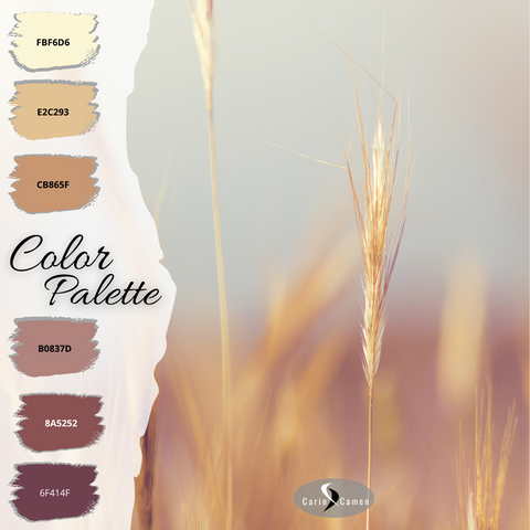 Wheat on a background of mauve, greys, and blues.