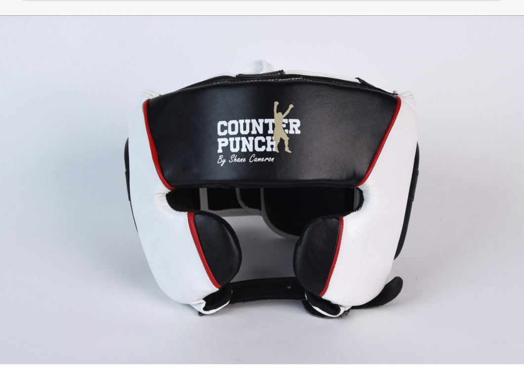 Leather head gear white/black
