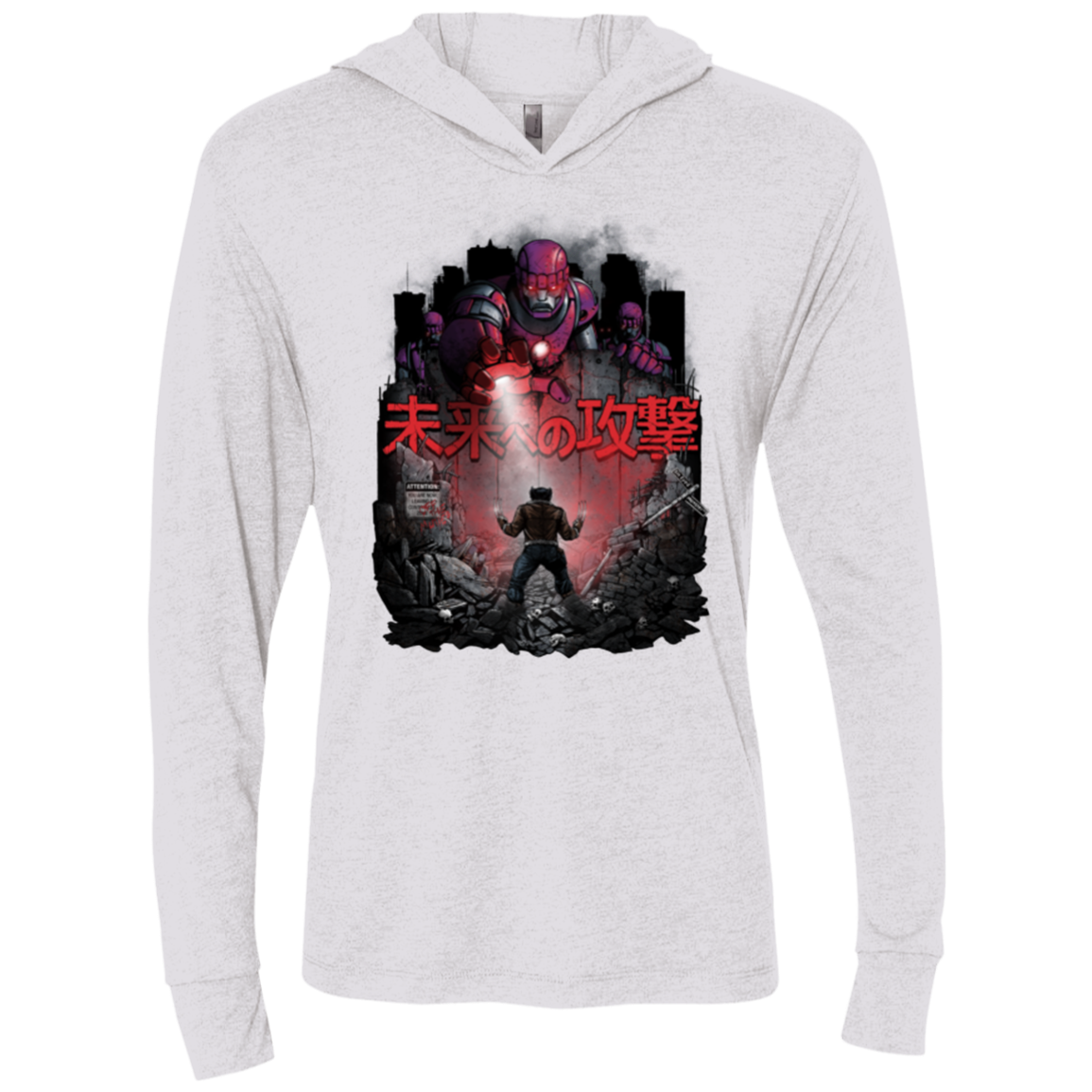 Attack On The Future Triblend Long Sleeve Hoodie Tee
