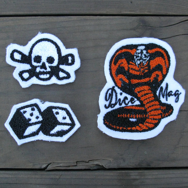 Dice Magazine Chain Stitched Patches