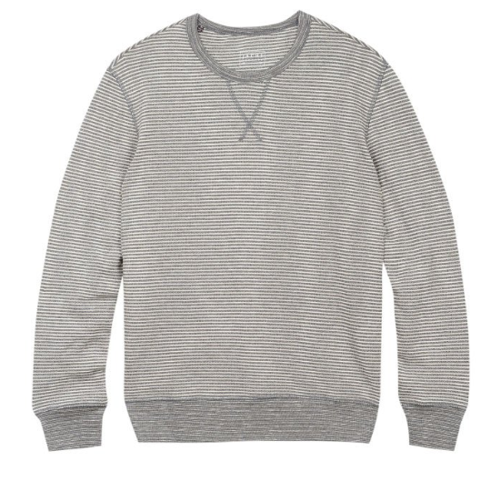 Grey Striped Fleece Crewneck Sweatshirt