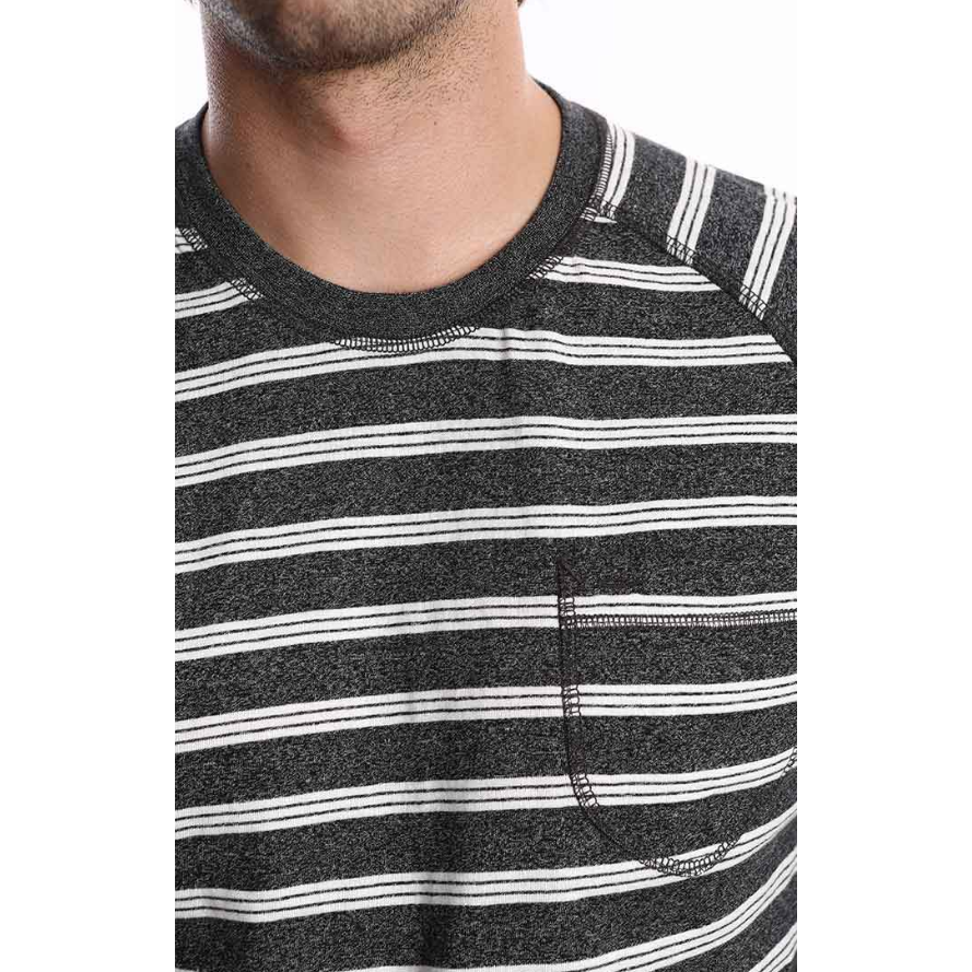 Grey Striped Raglan Crewneck Shirt