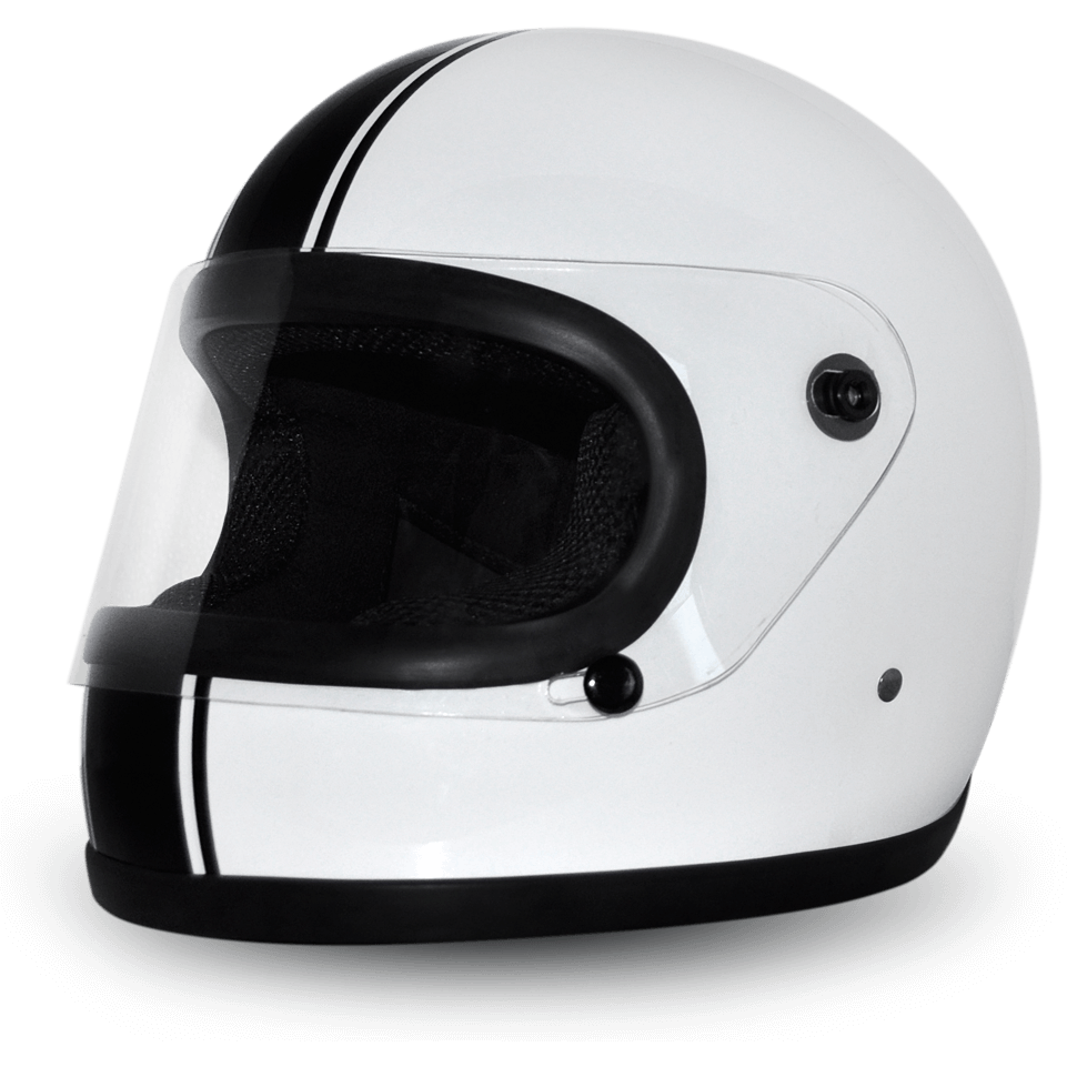 Daytona Full Face Retro Ride, White/Black