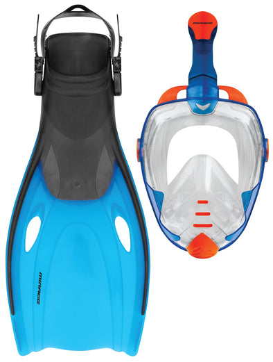 Adult Full Face Snorkel Mask & Fin Set