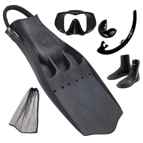 Tec Jet Fins, Mask & Snorkel Package Black
